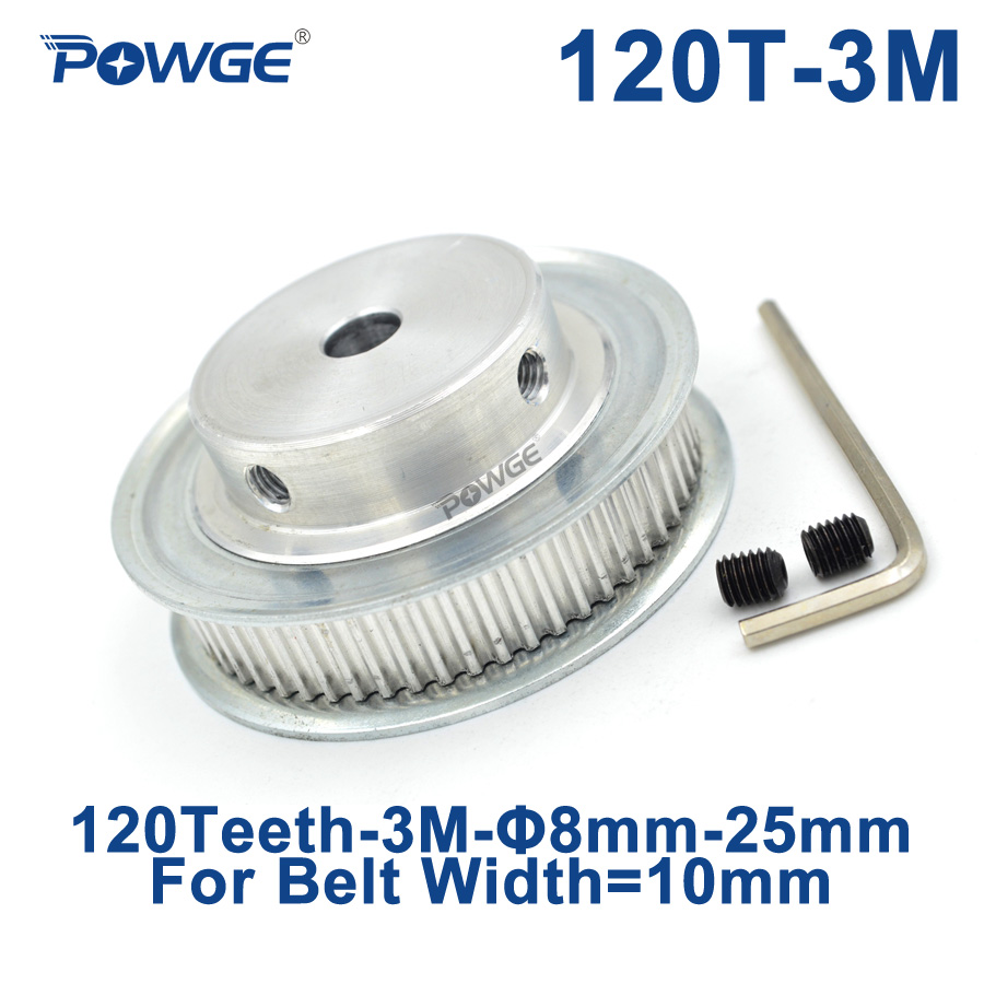 POWGE Arc Tooth 120 Teeth 3M Synchronous Pulley Bore 8/10/12/15/20mm for Width 10mm HTD3M Timing belt gear pulleys 120Teeth 120T все цены
