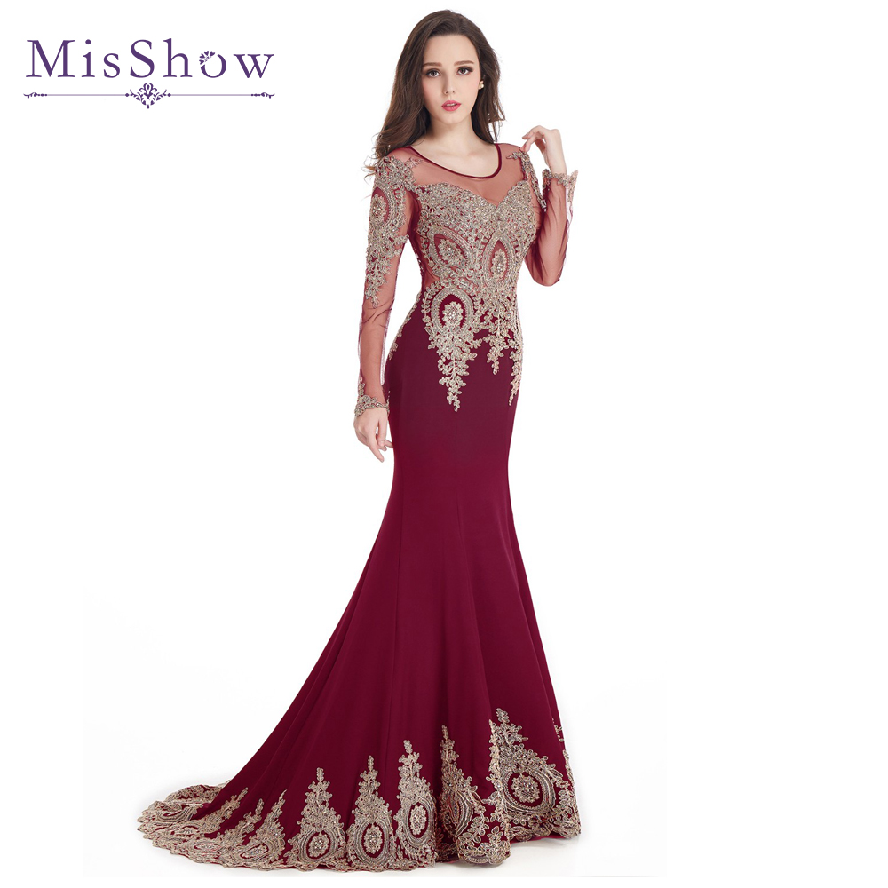 Gold Appliques Beaded Burgundy Black Blue Long Sleeve Plus size   Prom     Dresses   Mermaid 2019 Sweep Train Party   Dress   Formal Gowns