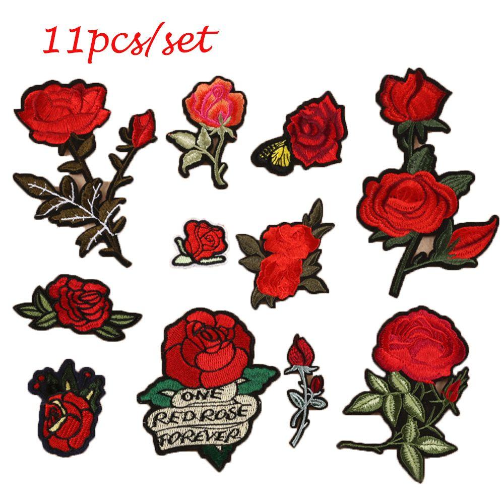11 pcs ensemble coudre broderie rose fleurs de fer sur la correction badge applique patches avec. Black Bedroom Furniture Sets. Home Design Ideas