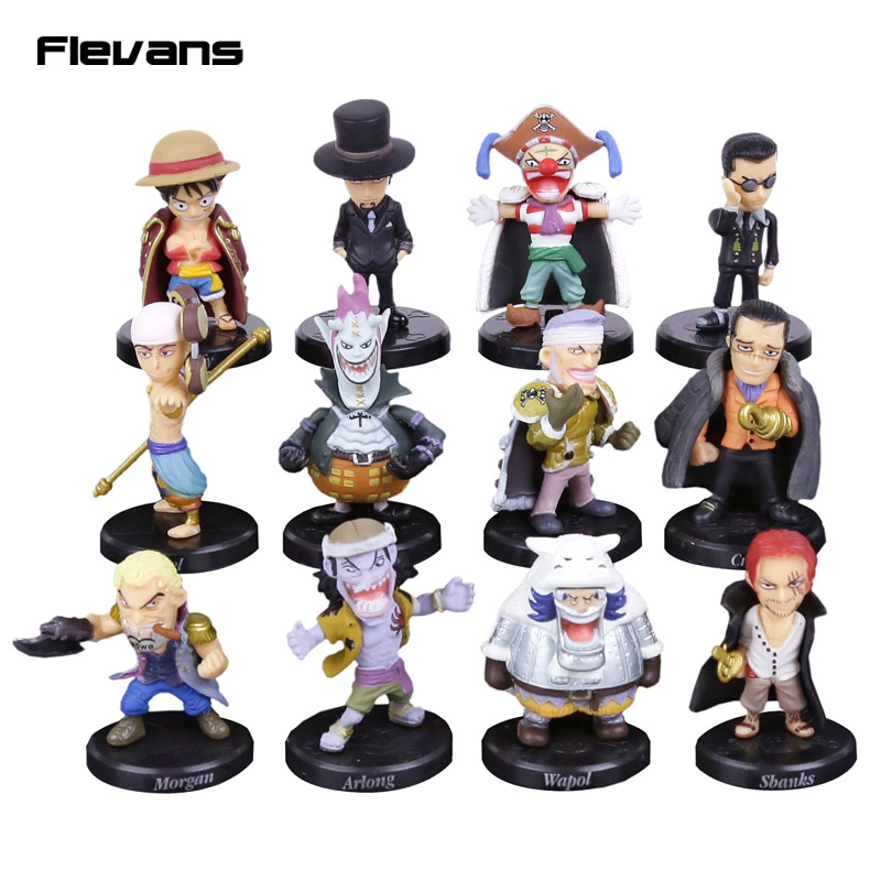 Аниме One Piece 12 шт./компл. Luffy Sabo Shanks Lucci крокодил Мория Багги Энель ПВХ Фигурки коллекционные модели игрушки 5 см