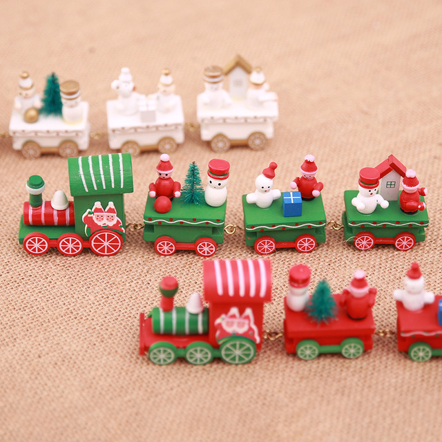Creative 2018 Mini Wooden Train Ornament New Year Xmas Party Kids Gift Christmas DIY Decorations AF076