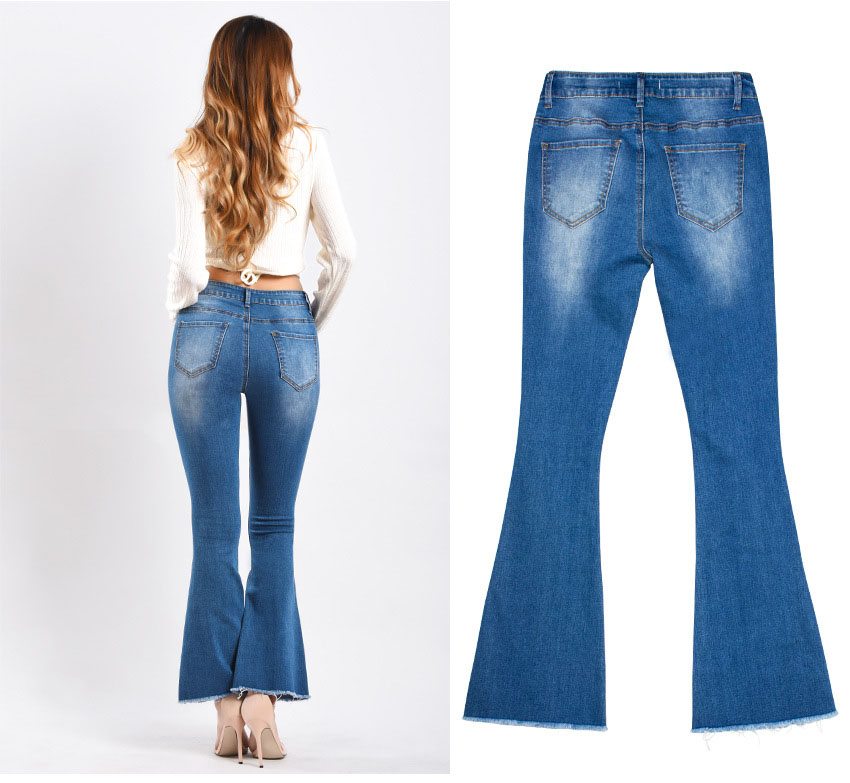 Women\`s dress of Europe and America 2018 new wide leg trousers jeans denim flared trousers women\`s worn-out edge trousers (8)