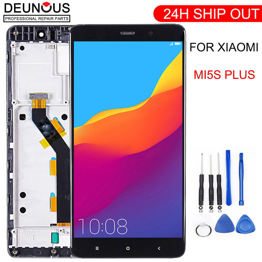 New LCD <font><b>display</b></font> for <font><b>xiaomi</b></font> <font><b>MI5S</b></font> plus 5.7 inch touch screen Digitizer assembly Button Light Frame with Free Tools image