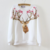 New Women S Pullovers Ladies Printed Deer Tops Autumn Winter Popular High End Sweatshirts Long Sleeve