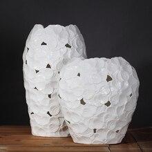 white Plum flower ceramic creative contracted vase pot home decor craft room decoration handicraft porcelain figurine