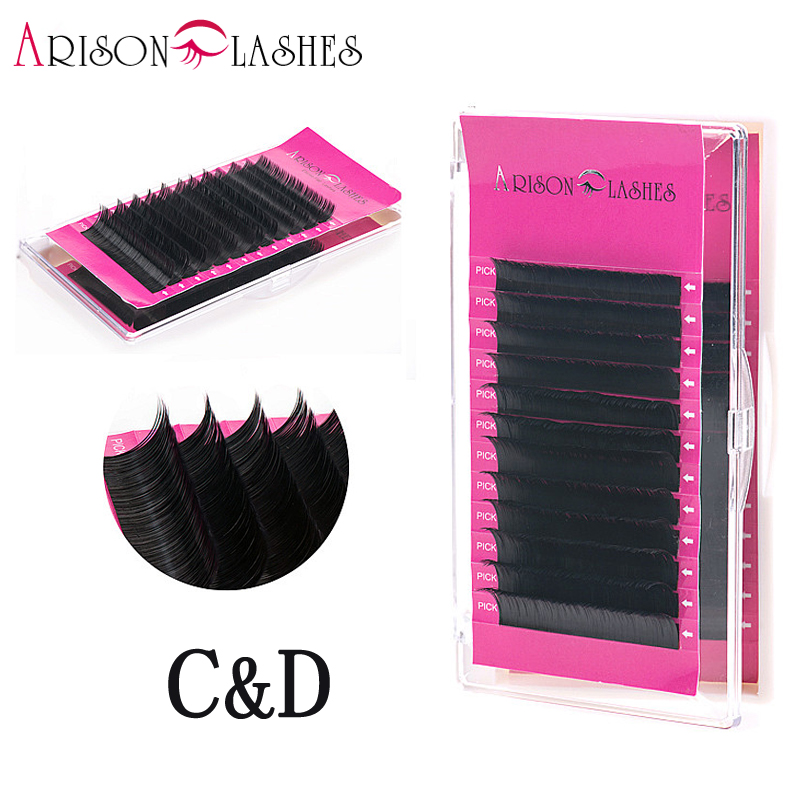 arison lashes short length C/D curl 1 trays high quality synthetic natural False eyelash individual eyelash extension free sent ...