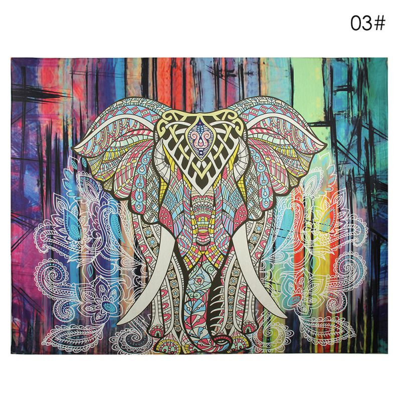 NEW Wall Carpet Elephant Tapestry Colored Printed Decorative Mandala Tapestry Indian Boho Crafts