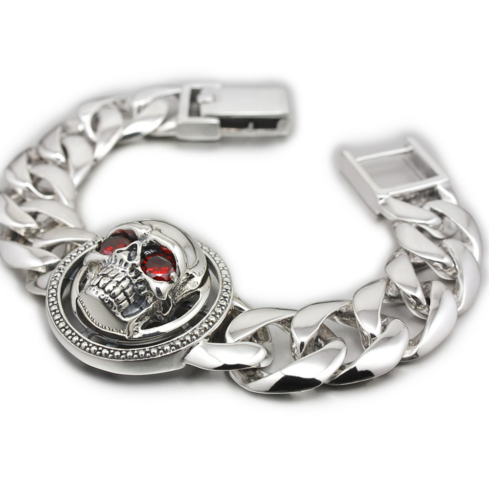 925 Sterling Silver Rotable Red CZ Eyes Skull Chain Mens Biker Rock Punk Bracelet 8F010