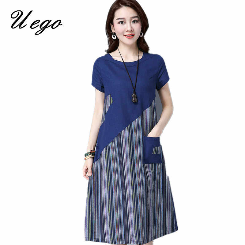 b33c733f4 ... Uego 2019 New Fashion Patchwork Striped Women Summer Dress Thin Light  Cotton Linen Pockets Loose Ladies ...