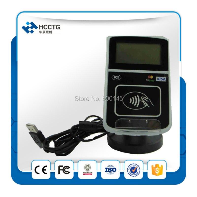 13.56 MHZ USB + RJ45 Intelligent Lecteur Sans Contact pour Le Paiement électronique Avec ÉCRAN LCD + SDK Kit + 5 pièces BLANC CARTES-ACR123