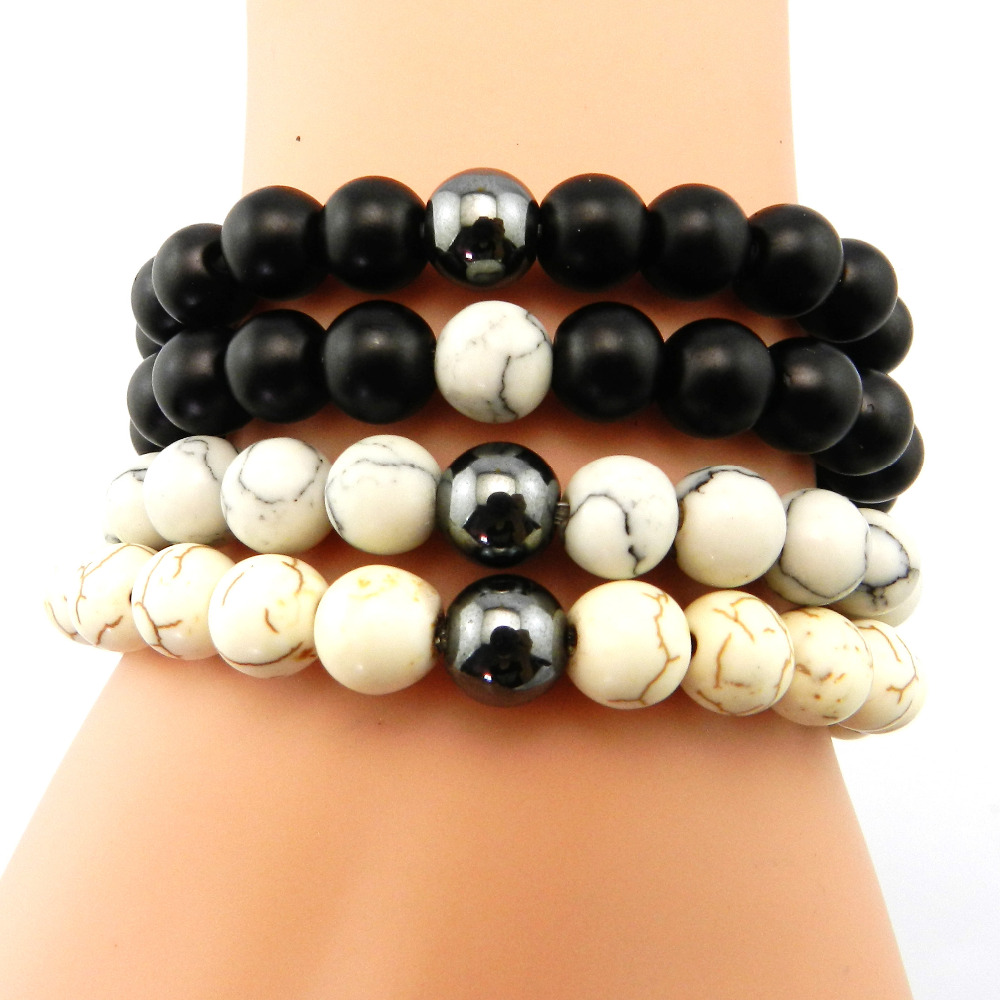 Boho Black White Natural Stone Beads Bracelets Bangles 2016 Handmade Women Strand Bracelet Femme men jewelry