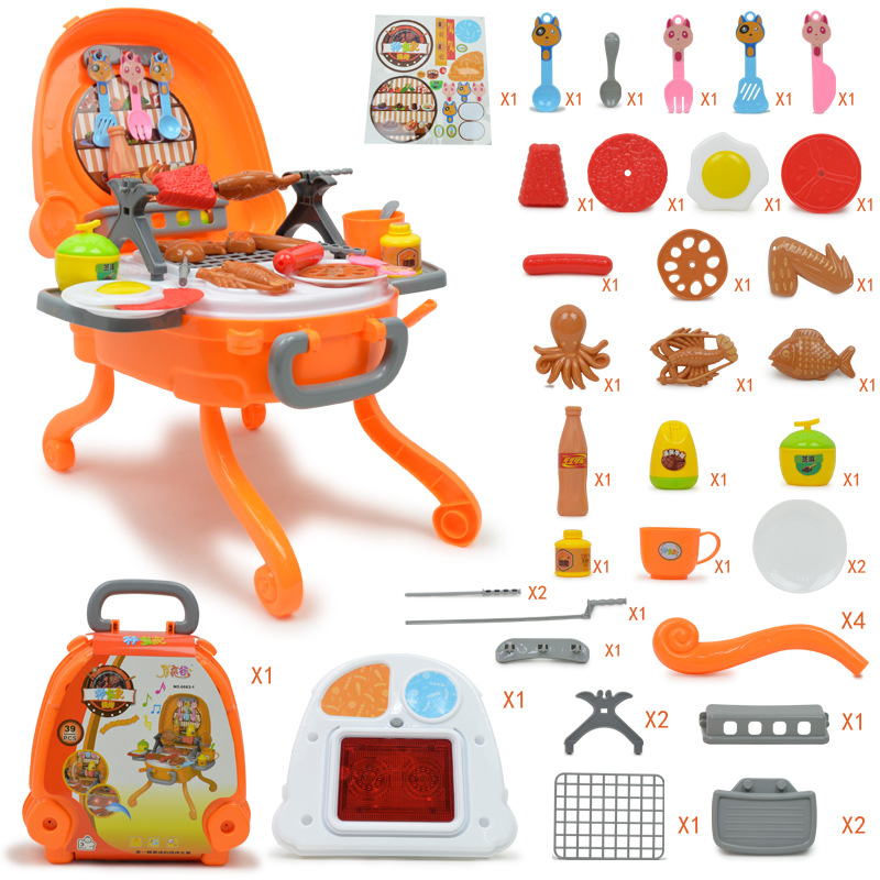 Pretend Play Music Lighting Children BBQ Toy Simulation Kitchen Toys Set Suitcase Educational Outdoor Plastic Kids Barbecue Doll