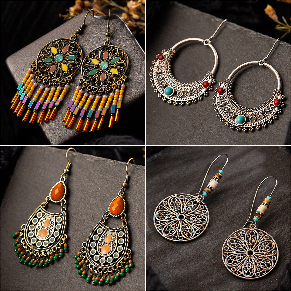 Multiple Vintage Ethnic Dangle Drop Earrings for Women Female Anniversary Bridal Party Wedding Jewelry Ornaments Accessories(China)