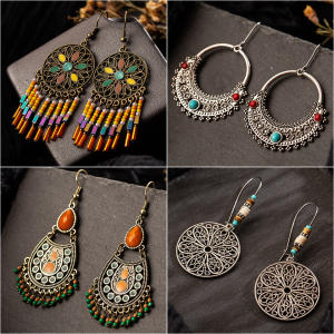 EXYNLON Vintage Drop Earrings for Women Wedding Jewelry