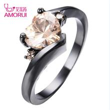 AMORUI Heart Crystal Women Party Rings Copper Black Gold Rings For Women Fashion Jewelry Engagement Rings Femme Anel Anillos