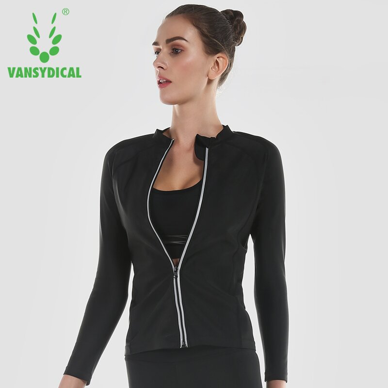Vansydical Womens Zipper Yoga Shirts Running Workout Tops Body Shapers Lose Weight Shirt Fat Burning Tracksuits Sport Shirts Top image
