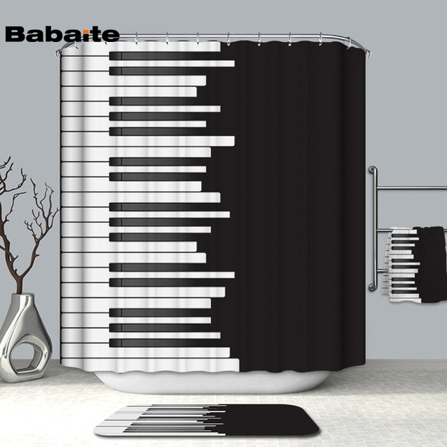 Babaite 3D Piano Keyboard Keys Love Music Shower Curtain for ...