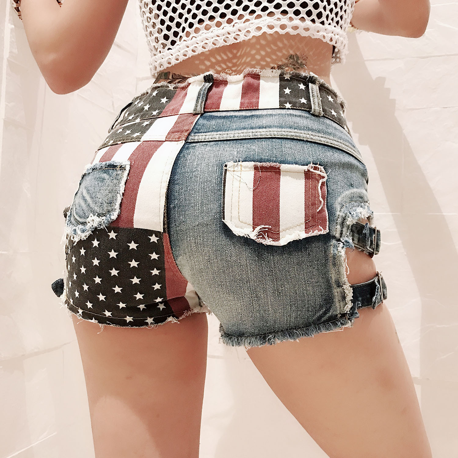 Danjeaner Bf Style Summer Ripped Jean Shorts For Women Sexy Low High Hollow Out Flag Printed Skinny Hot Pants Pants Clubwear