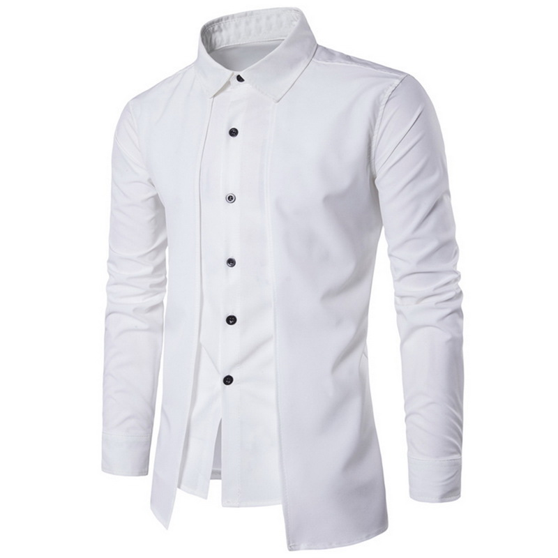 Oeak Mens Business Shirt 2019 New Fashion  Two Pieces Shirts Causal Slim  Long Sleeve Tops Solid Color Dress Shirts