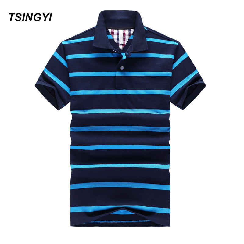 Tsingyi Striped   Polo   Shirt Men Camisa Masculina Turndown Collar Cotton Mens   Polo   Shirts Summer Casual Blue Striped   Polo   Shirt