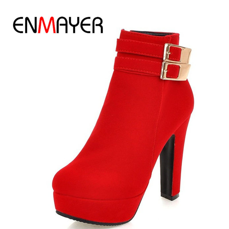 ENMAYER New Round Toe High Heels Sexy Red Shoes Woman Buckle Charms Winter Warm Ankle Boots for Women Platform Boots Shoes enmayer winter woman boots pointed toe lace up shoes winter warm boots black red 2017 new fashion shoes ankle boots big size