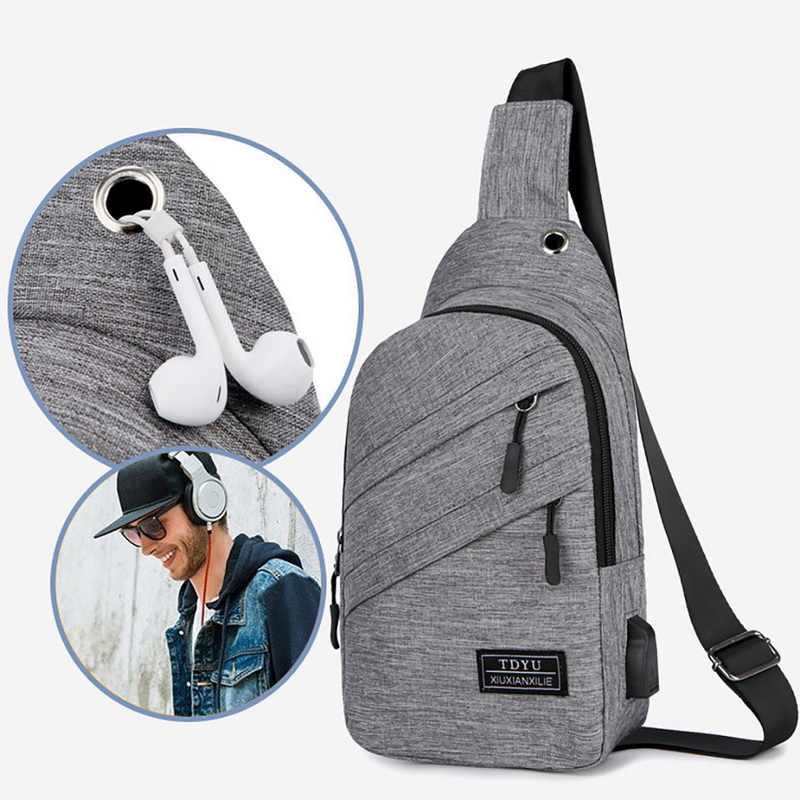 2019 nowe torby męskie Outdoor wodoodporna męska torba Crossbody z interfejsem Fashion Sports Packs Anti-theft