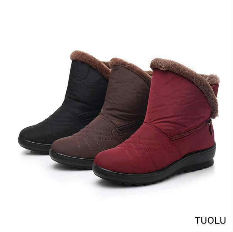 Kar Botları Kadın Moda Kırmızı siyah çizmeler Kış sıcak ayakkabı 2018 Botas Mujer Kürk Platforma Rahat kadın kış Ayakkabı artı boyutu 41