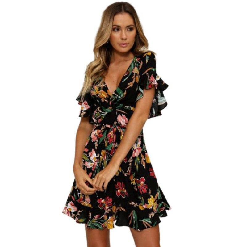 Summer Dress 2018 Women Sexy Deep V-Neck Flower Print Dresses Hem Folds Bohemian Style Belt Mini Ruffle Beach Dress With Gift
