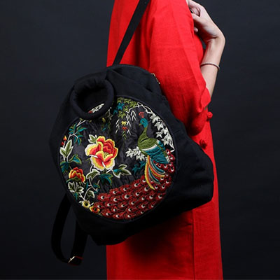 XIYUAN BRAND Hot Chinese style printing backpack mochilas feminina linen zipper backpacks embroidery backpack girl shoulder bag