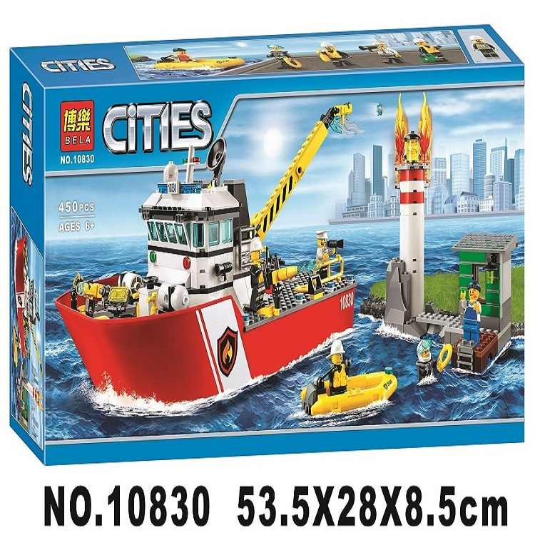 10830 City Fire Building Blocks FIRE BOAT DIY Model Bricks Ship Kids Ideas Toys Gifts