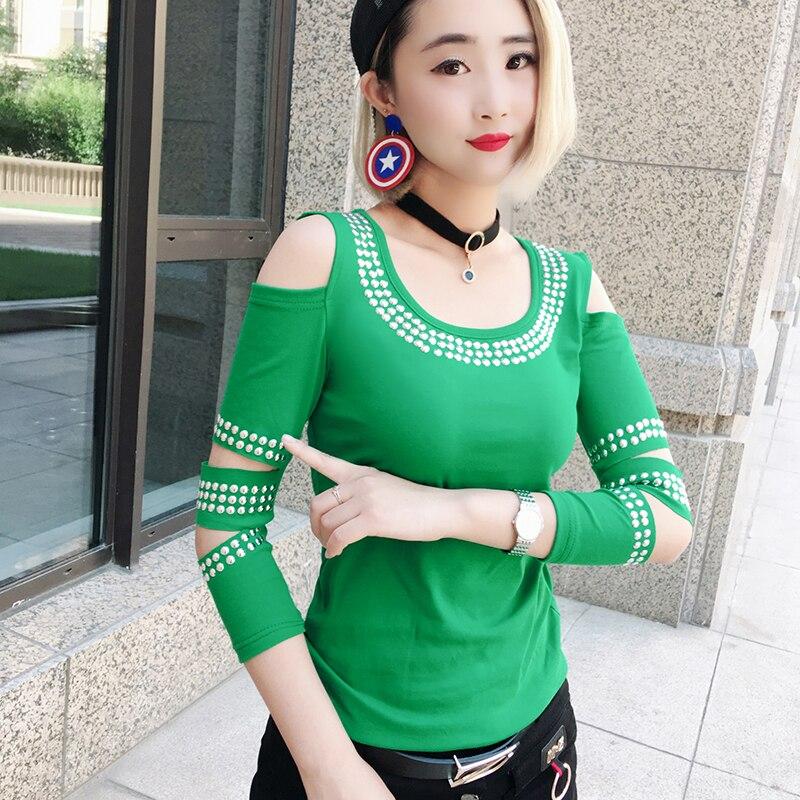 Korean Patchwork Sexy Off Shoulder Diamonds Tshirt 2019 New Autumn Women Top Three Quarter Clothes Shirt Camiseta Mujer T97210