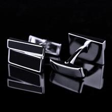 Bridegroom Wedding Business Men Cufflinks French Shirts Cuff Links Black Glaze Glass Silvery Asymmetric Cufflink With Gift Bag