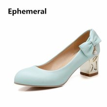 Lady Peal Bowtie Plus size 34-43 Round Closed Toe Single High heels Shoes Square Thick Crystal Heel Women Pumps Sophia Webster(China)