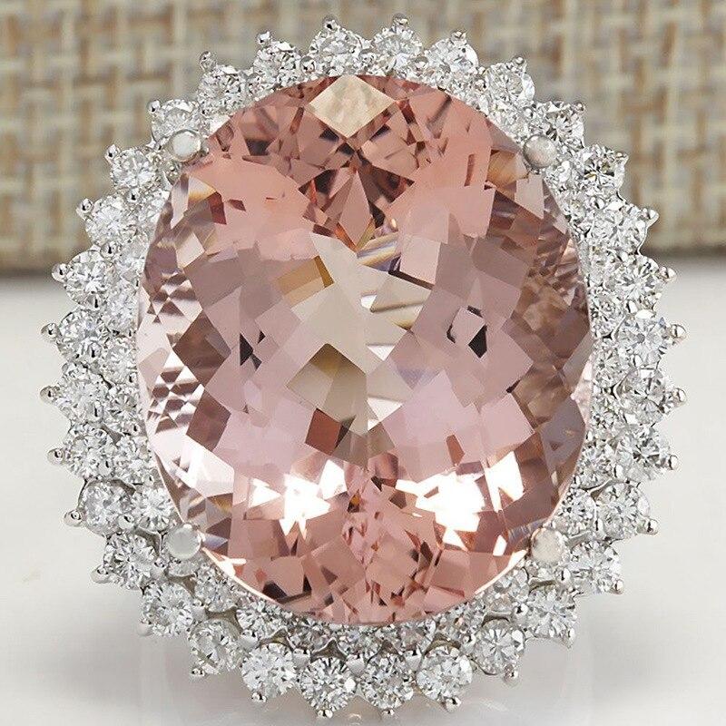 ca4e93f4fbe7 Boutique Oval grande anillo de circón de cristal para las mujeres de lujo  hipérbole Micro-con incrustaciones de Zircon Anillos de moda de joyería ...