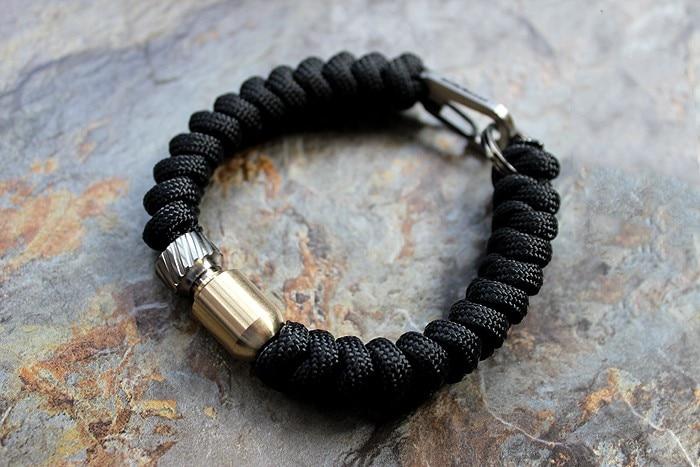 Hand-woven Titanium + Brass + Titanium Keychain Umbrella Rope Paracord Bracelet 4 pcs cowhide rope hand bracelet