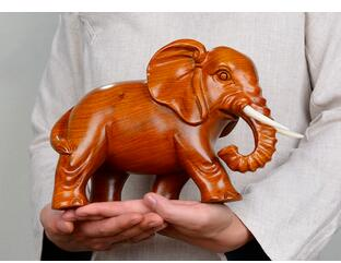 Yellow Flower Pear Solid Wood Sculpture Elephants Large Fortune Elephant Furniture Home Decoration Statue Factory Direct