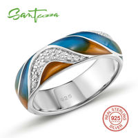 Silver Rings For Women Colorful Enamel Ring Pure 925 Sterling Silver White Cubic Zirconia Stone Party