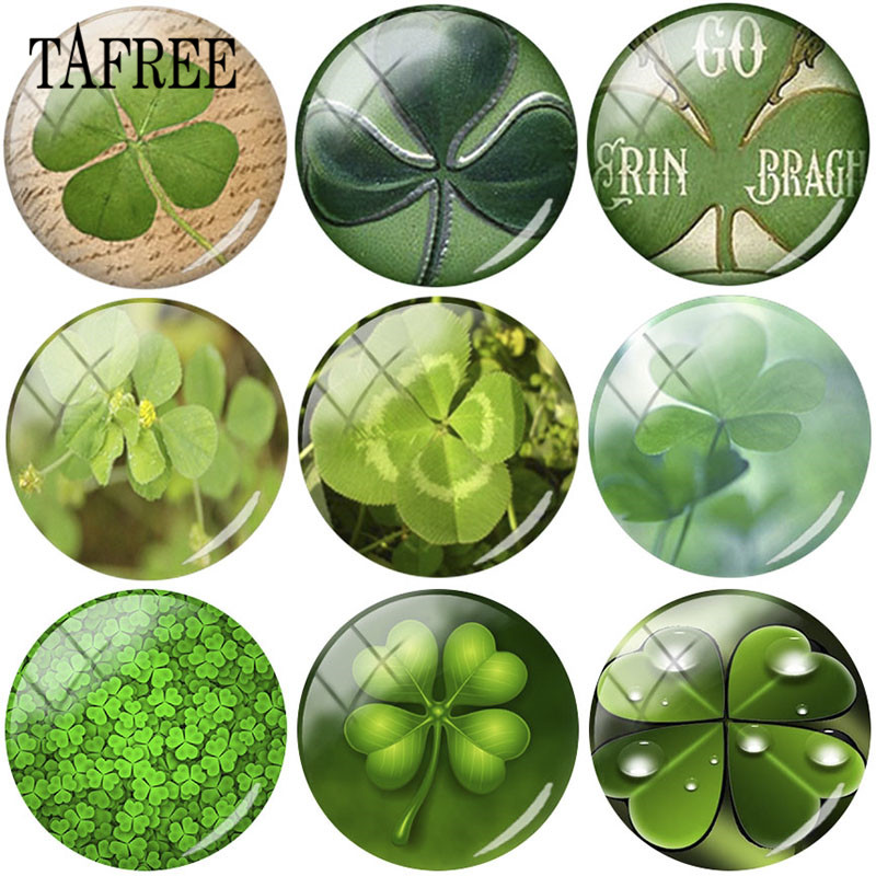 TAFREE Four-leaf Clover Pictures 25mm Glass Cabochon Dome For Keychain Necklace Flatback Camo Jewelry Findings DIY Gift
