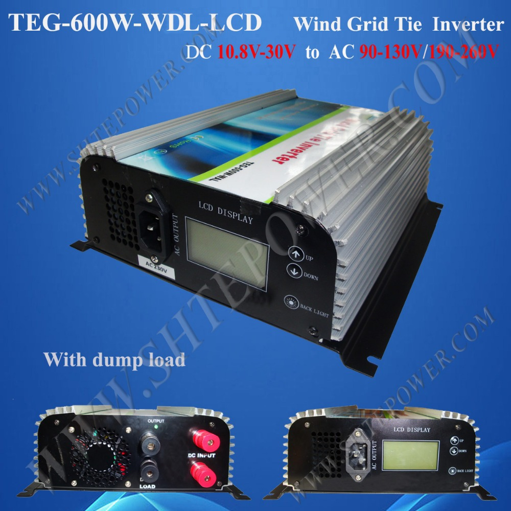 12V/24V DC to AC Wind Turbine Inverter 600W On Grid Tie Inverter for Wind with LCD and Dump Load 2000w wind power grid tie inverter with limiter dump load controller resistor for 3 phase 48v wind turbine generator to ac 220v