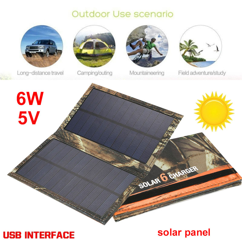 Gizcam Portable 5V 6W Folding Solar Panel USB Port Fast Charger Solar Charger Panel Solar Generator Outdoor