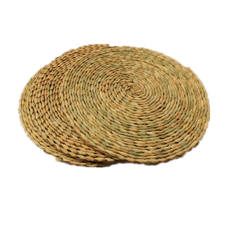 2pcs Natural Round Braided Handmade Straw Woven Placemat Insulation Resuable Non-slip Pad Tablemats