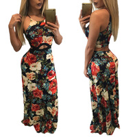 2017 Summer Women Sexy Maxi Dress Off Shoulder Long Dress One Piezas 3D Flores Print Boho