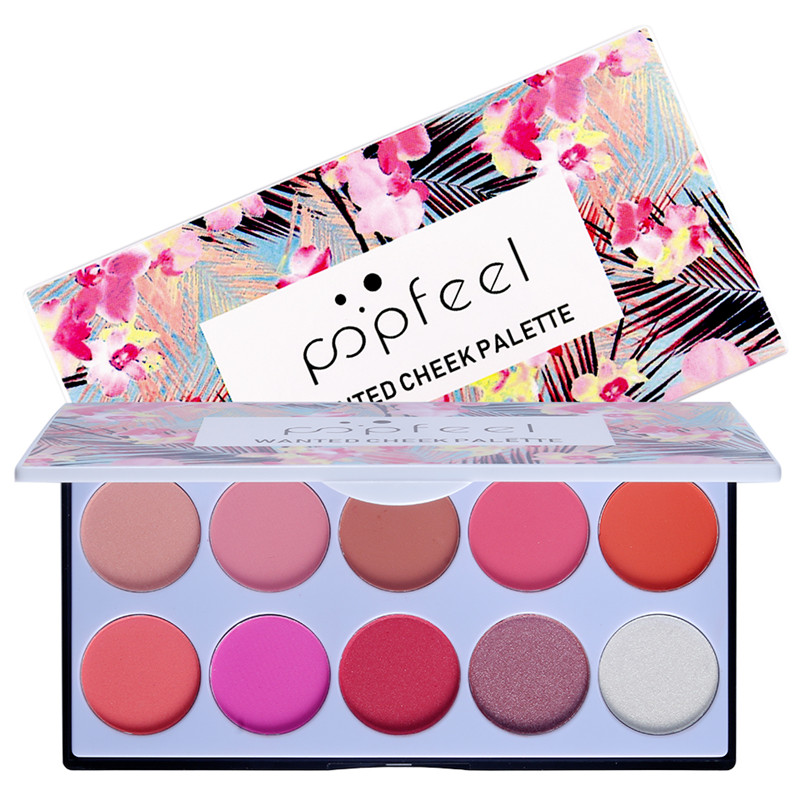 POPFEEL 10 Color Blush Palette The Rouge Tray Brighten Orange Pink Naturally Delicate Gentle Face Cream Blush Contour Makeup Set