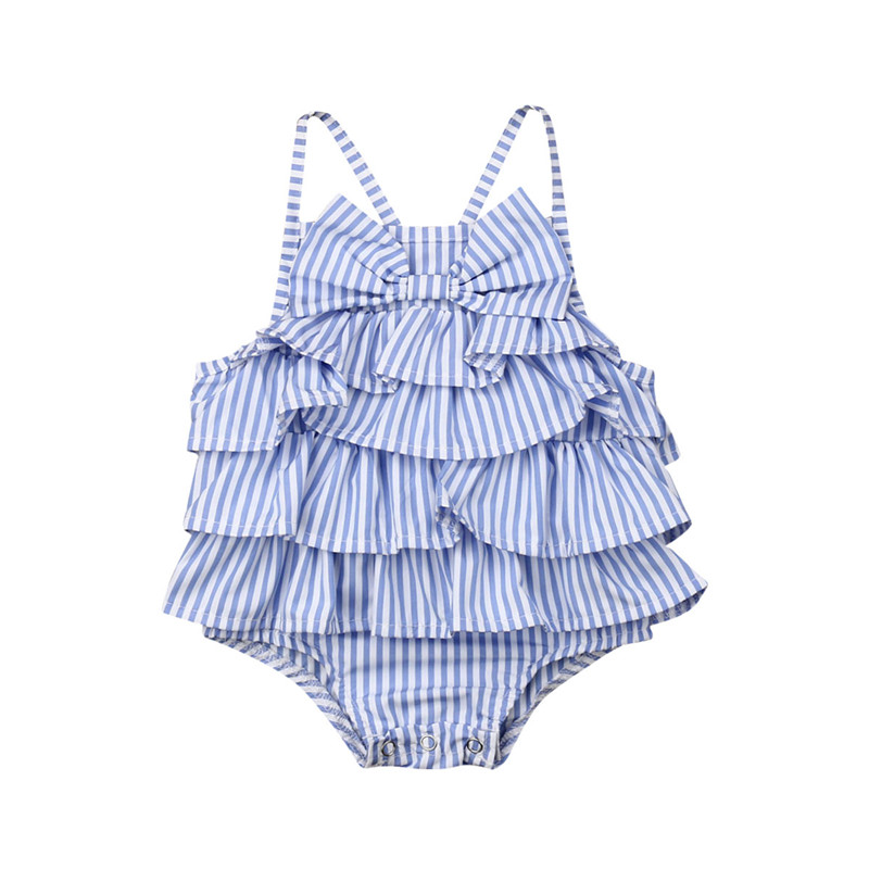 2019 New Summer Baby Girls Blue Striped Sleeveless Bow   Romper   Sleeveless Ruffle Playsuit Jumpsuit Ruffle Outfits 0-18M