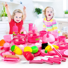 46pcs Pretend Play Pink Kitchen Toys Baby Kitchen For Children Miniature Vegetable Fruit Food Cooking Toys Kettle Cutting Knife