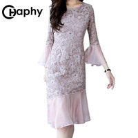 Elegant Long Mermaid Bodycon Dress 2018 Office Lady Bodycon Lace Dress O neck Flare Sleeve Patchwork Pearl Lace Party Dresses