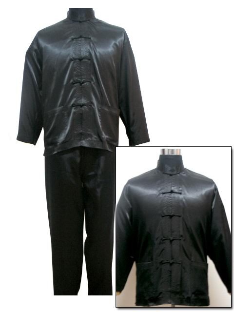Black Chinese Style Men's Satin Pajamas Set Novelty Button Pyjamas Suit Casual Sleepwear Long Sleeve Shirt&Pant S M L XL XXL