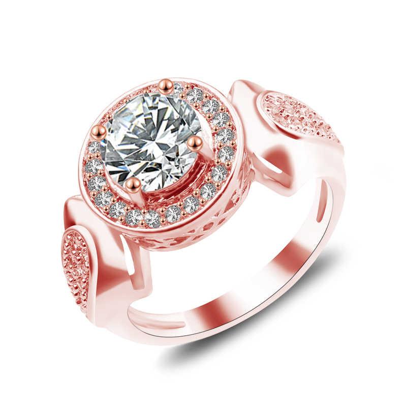 Thời trang Nữ Màu Hồng Mệnh Hỏa Đá Opal Nhẫn Hoa Hồng Vàng Lấp Đầy Trang Sức Vintage Nhẫn Cưới Cho Nữ Sinh Tử Phù Vòng 3 Màu