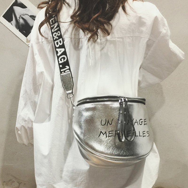 ETAILL Fashion Tide Crossbody Silver Bags For Women With Letter Wide Strap Woman Luxury Brand Bags 2018 Summer Shoulder Bags