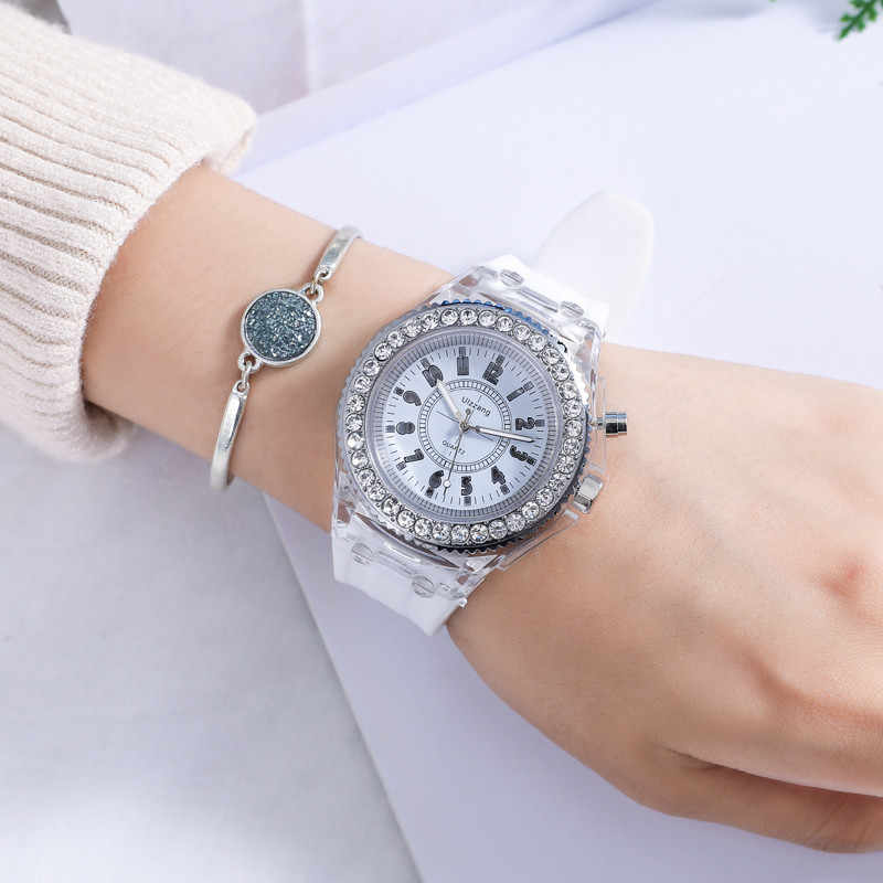 Quartz Women Watches Brand Luminous Diamond LED Wristwatch Fluorescent Personality Fashion Male Female Fashion Lovers Watch